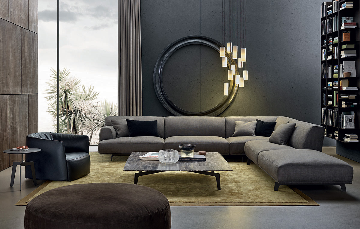 Poliform tribeca contemporary furniture naples fl for Modern living room sofa